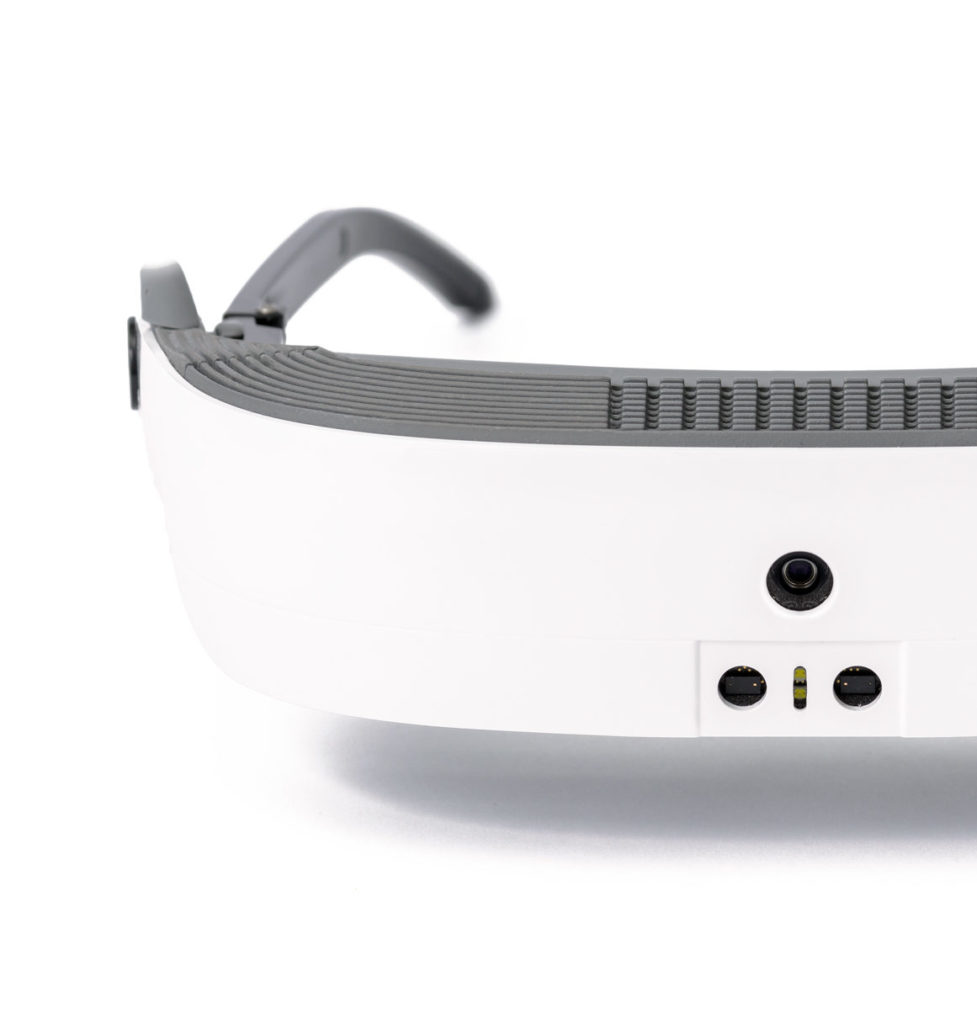 eSight 3 in white, low vision eyewear.