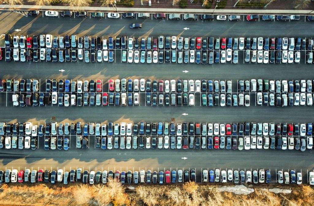 Birds-eye view of a parking lot, visual depiction of what blind radio host Shane saw when he looked out the window with eSight on