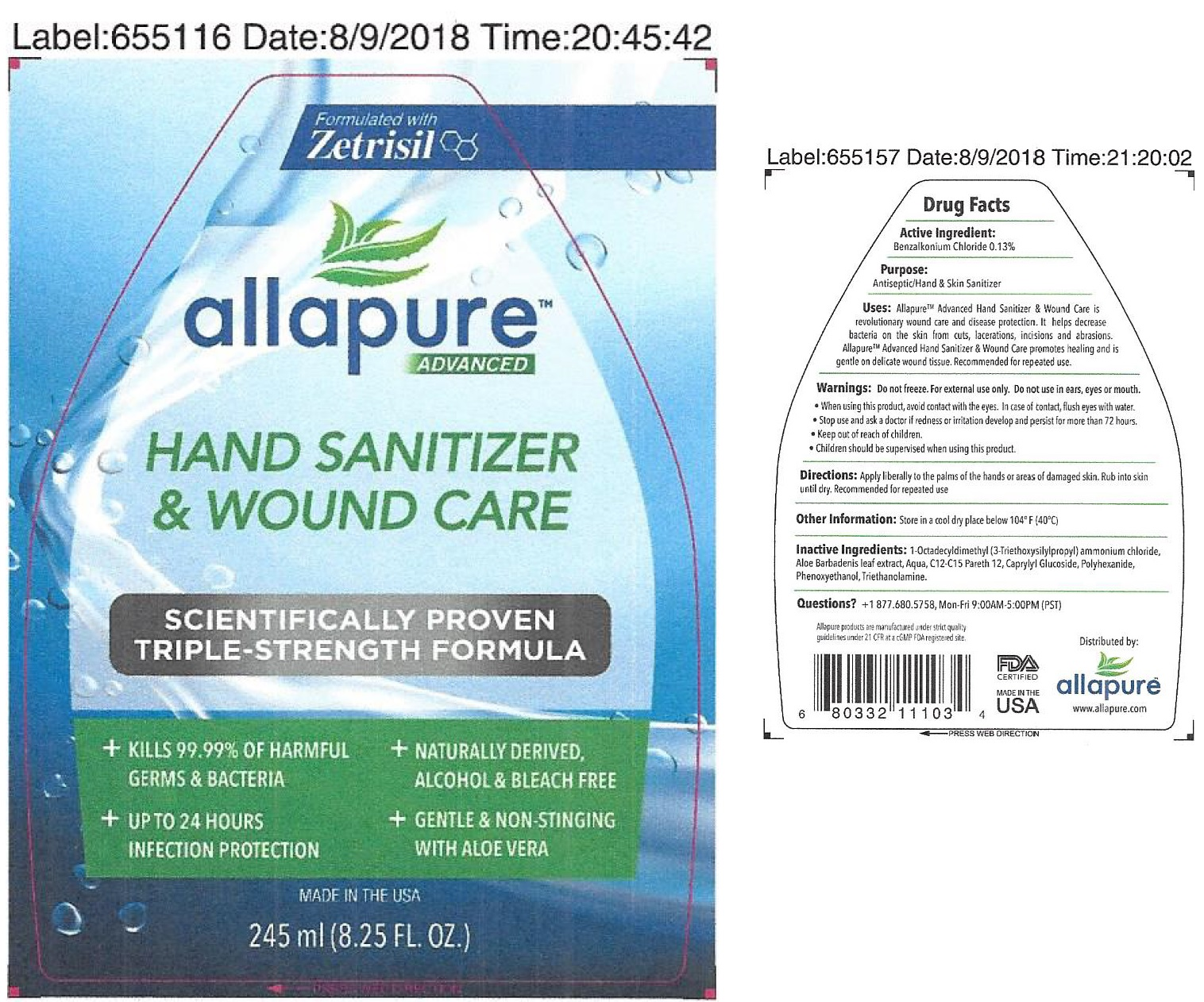 Allapure Advanced Formula Hand Sanitizer