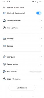 Realme Watch S Pro data and settings in Realme Link app