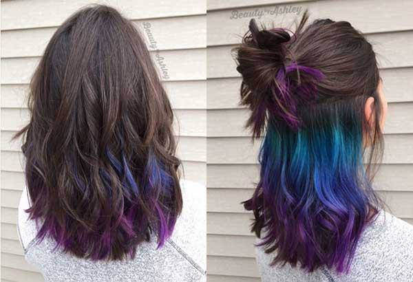warna rambut multicolor middle