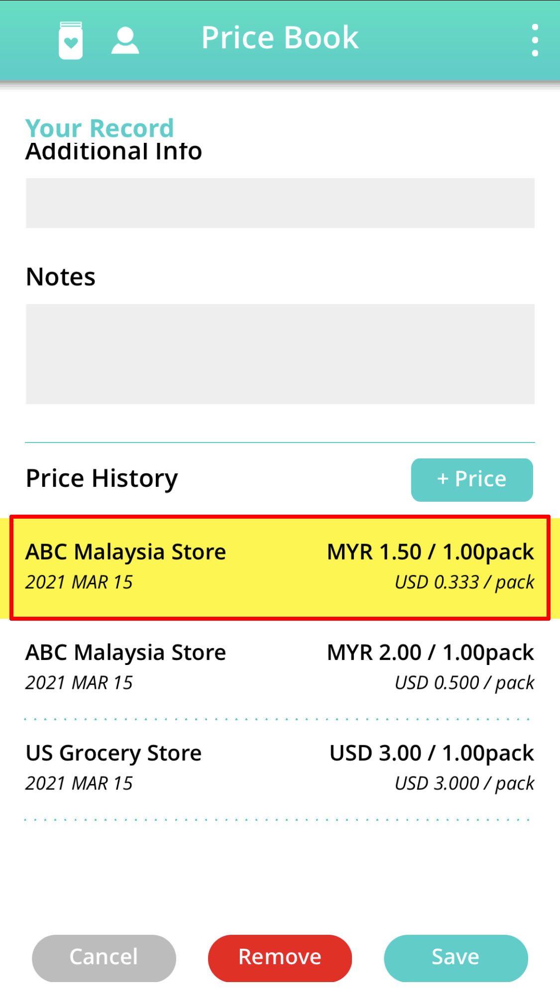 update existing item exchange rate option