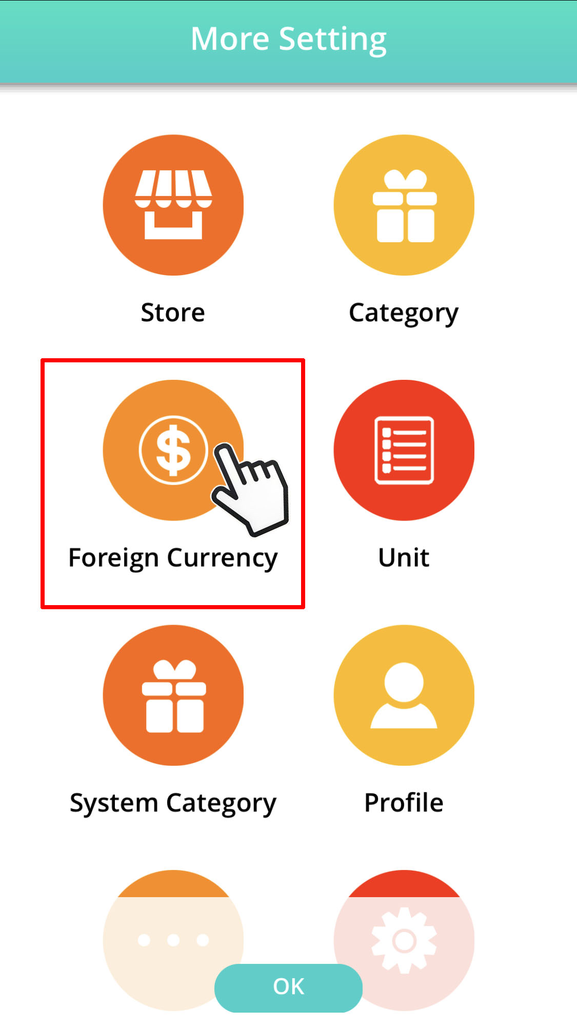 more setting click foreign currency