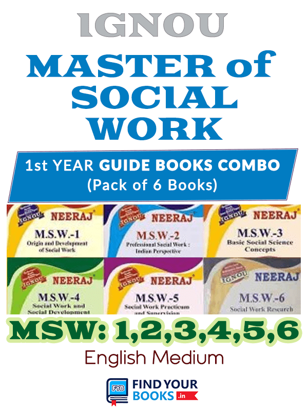 IGNOU MSW-1 To MSW-6 Combo Of Six Books in English Medium for 1st year