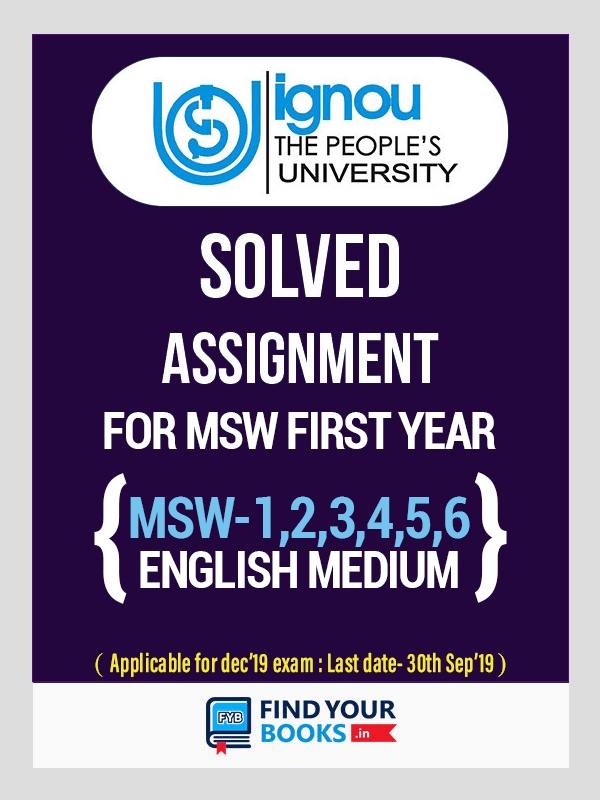 IGNOU MSW-1-6 Solved Assignment 2019-20 English Medium