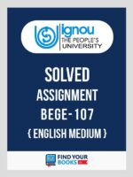 BEGE-107 IGNOU Solved Assignment 2019-20 - English Medium