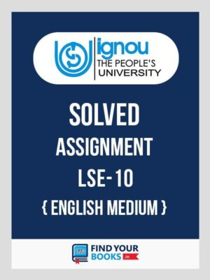 LSE10 Physiology - IGNOU Solved Assignment 2019 -  English Medium