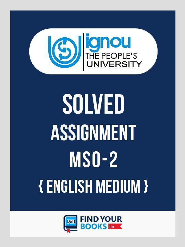 MSO-2 IGNOU Solved Assignment 2019-20 - English Medium - Download in PDF