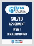 MSW1 IGNOU Solved Assignment English Medium