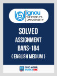 BANS184 Ignou Solved Assignment