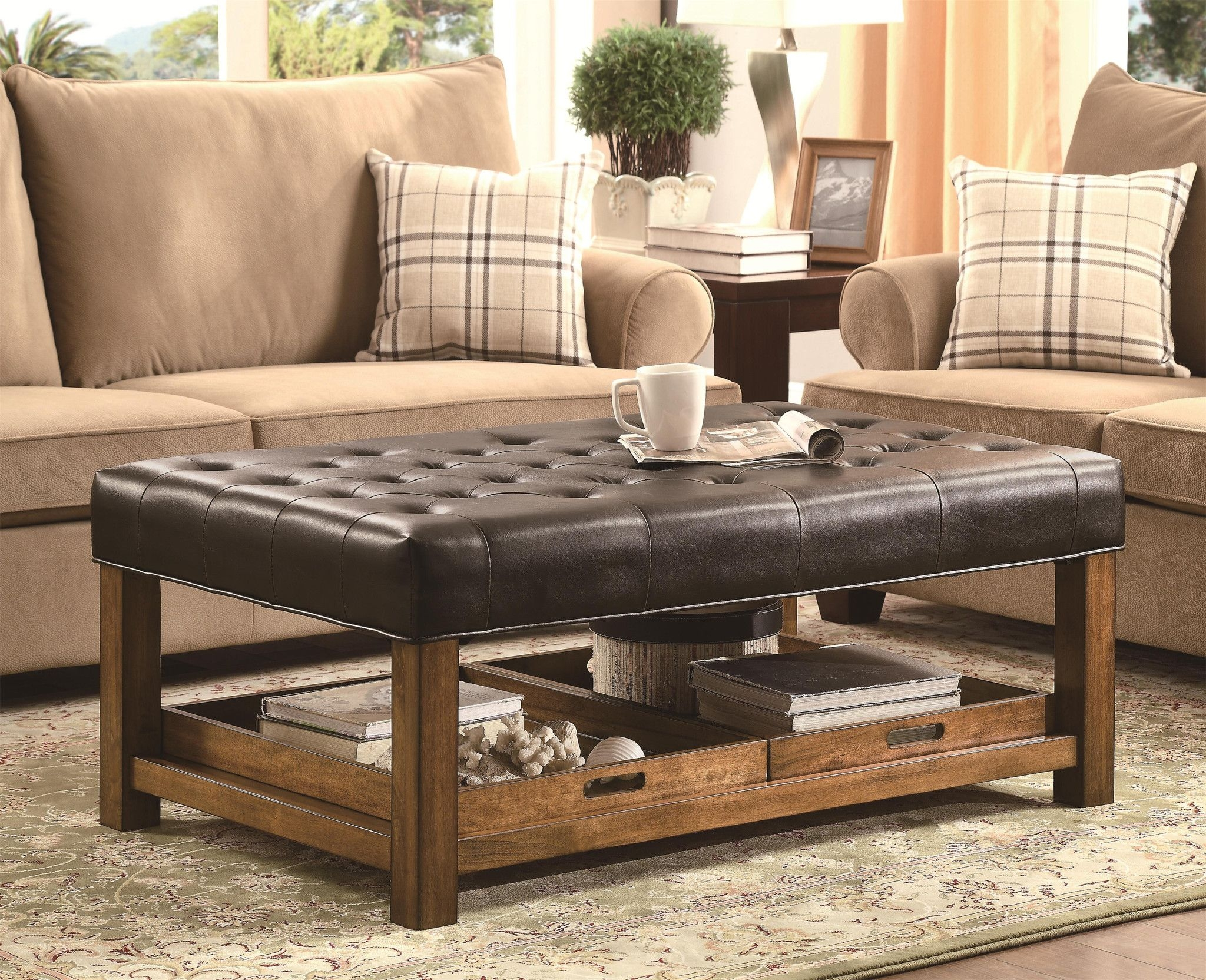 Tufted Leather Cocktail Ottoman Ideas On Foter