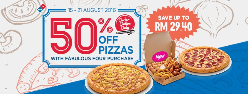 Domino's Pizza 50% Discount Promotion
