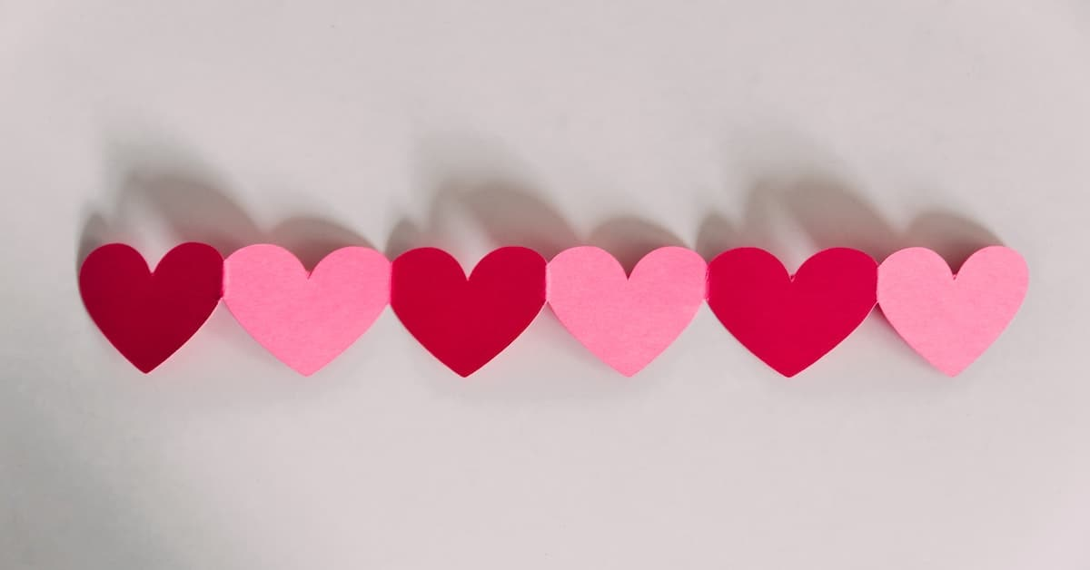 pink paper heart signs