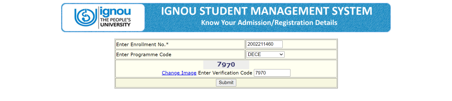 ignou admission status page look like this