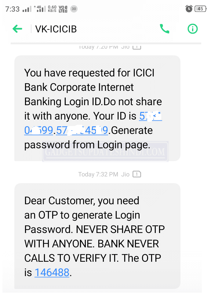 ICICI BANK received LOGING ID YOUR MOBILE