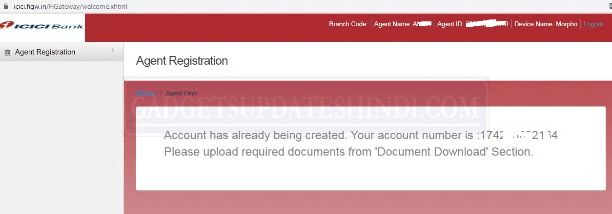 Account has already being created. Your account number is
