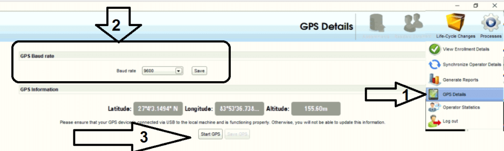 How to use GPS devices in UCL Aadhaar software.