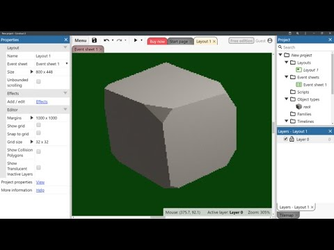 From Blender To Construct 3 Tutorial - Prerendered, Low Res, Pixel Art-Looking Rock (No Commentary)
