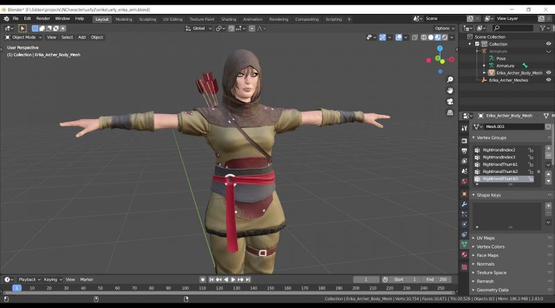 Rigging a character for Unreal Engine 4 with Blender, Rigify and Uefy 2