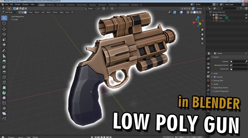 Blender - Low Poly Weapon Modeling | Time-lapse | First person RPG | Indie post-apo game