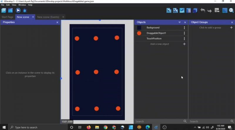How To Work With Multitouch In Gdevelop 5   Drag Many Objects Using Many Fingers Simultaneously