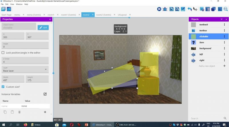 Escape the room game in GDevelop pt.7: adding interactivity to Room 2