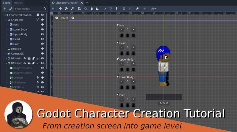 From character creation screen to game level (Godot Tutorial)