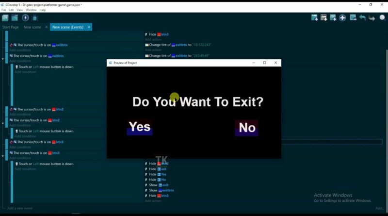 GDevelop - How To Make Exit Button In Game | Game Development Full Tutorial