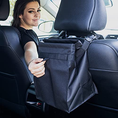 EcoNour Car Trash Bag with 100% Waterproof and Leakproof Interiors   Easy Mountable Car Garbage Can for Back Seat   Foldable Small Car Garbage Bag and Multi-Use Hanging Car Trash Can