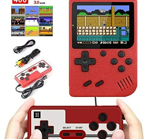 Handheld Game Console, Retro Game Console, with 400 Classical Games, Video GamesSupporting 2 Players & TV Connection ,1020 mAh Rechargeable Battery Present for Kids & Adult Game Console(red)
