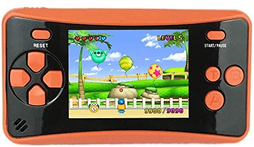 """HigoKids Portable Handheld Games for Kids 2.5"""" LCD Screen Game Console TV Output Arcade Gaming Player System Built in 182 Classic Retro Video Games Birthday for Your Boys Girls(Orange)"""