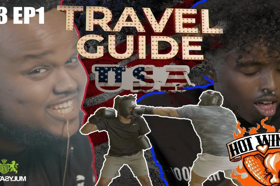 ROAD TO KSI: CHUNKZ AND AJ HOT WINGS CHALLENGE AND BOXING   TRAVEL GUIDE USA EP 1
