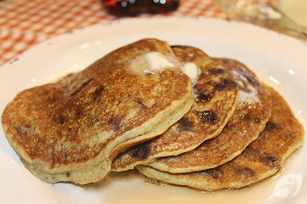 Gluten-Free Food: Gluten-Free Whole Grain Chocolate Chip Zucchini Pancakes on a plate
