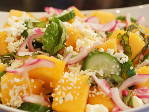 Garden Fresh Cantaloupe & Cucumber Salad with Feta