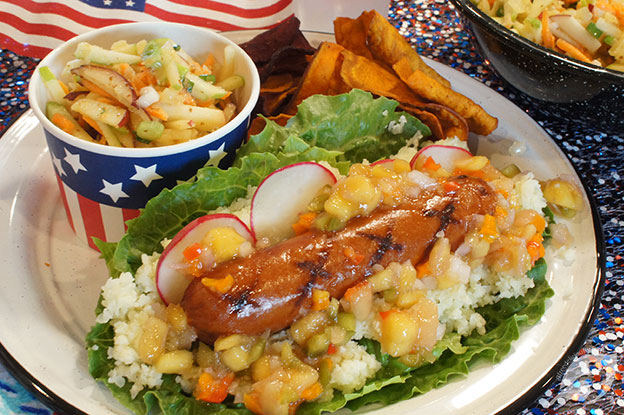 Gluten-Free Food: Mango Pineapple Salsa Fresca All American Dogs over Cauliflower Rice