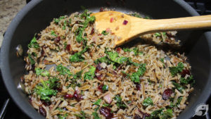 Lake-Harvested Wild Rice, Cranberry, and Kale Pilaf