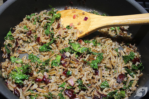 Gluten-Free Food: Lake-Harvested Wild Rice, Cranberry, and Kale Pilaf