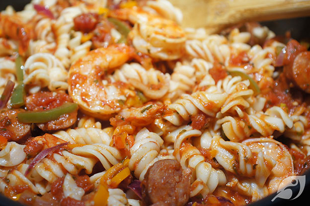 Gluten-Free Food: Spicy Shrimp & Andouille Sausage Fusilli