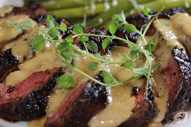 Gluten-Free Food: Chocolate & Coffee Rubbed New York Strip Steak with Bourbon Parmesan Cream Sauce