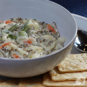 Cream of Asparagus, Crab & Wild Rice Soup