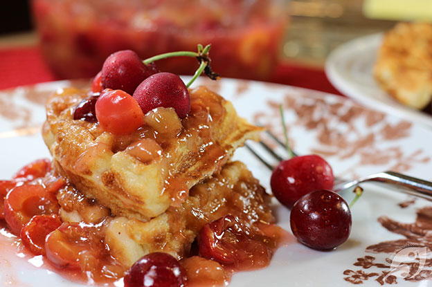 Gluten-Free Food: Cherry Rhubarb Sauce on Waffles