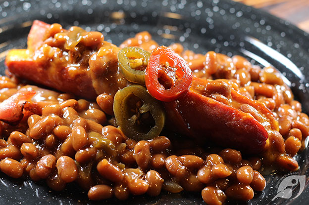 Gluten-Free Food: Grilled Bacon-Wrapped Chipotle Cheddar Cheese Stuffed Hotdogs & Beans