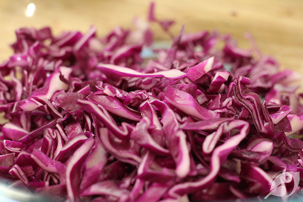 making Creamy Coleslaw purple cabbage cut