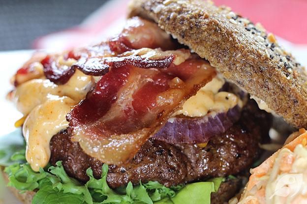 Gluten-Free Food: Southwest Rodeo Burgers with beef, bacon, cheese, onion and spicy rodeo aioli sauce