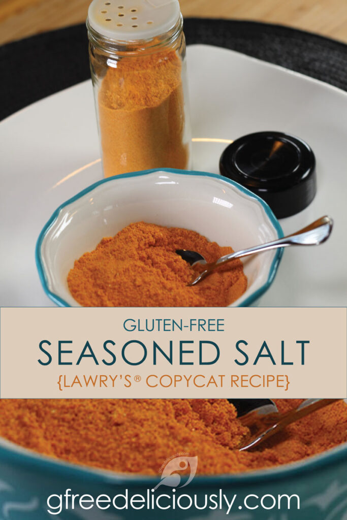 Gluten-Free Food: Gluten-Free Seasoned Salt in bowl with shaker in background Pinterest Image