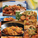 Pinterest Image: 45-Minute Jambalaya Skillet Dinner closeup plated three ways - with andouille sausage, okra, and shrimp