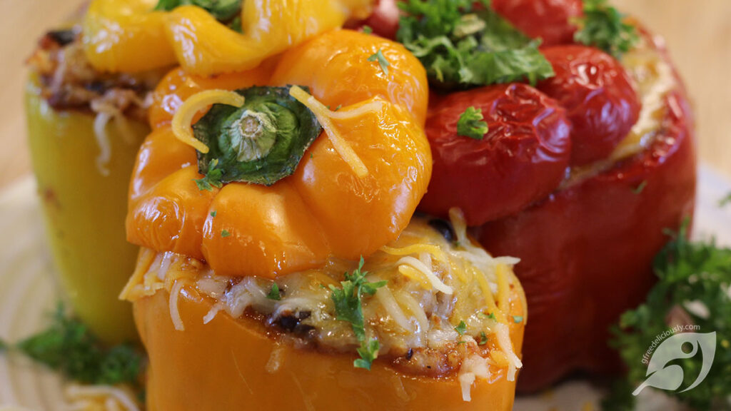 Closeup 3 Mexican Stuffed Peppers on a plate