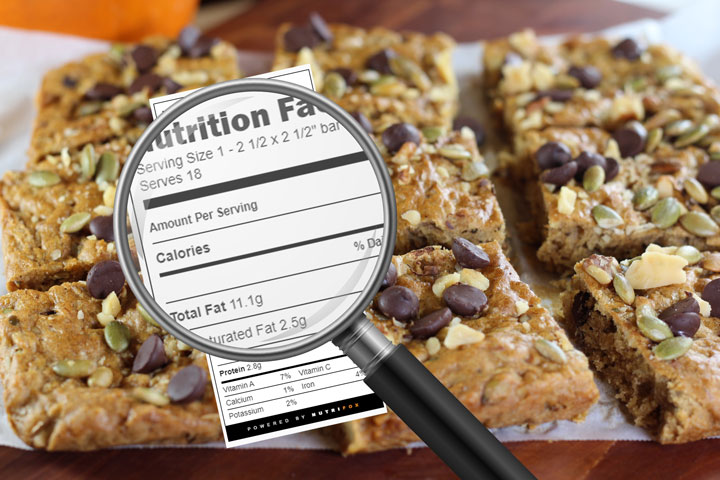 Recipe with magnifying glass over nutrition facts