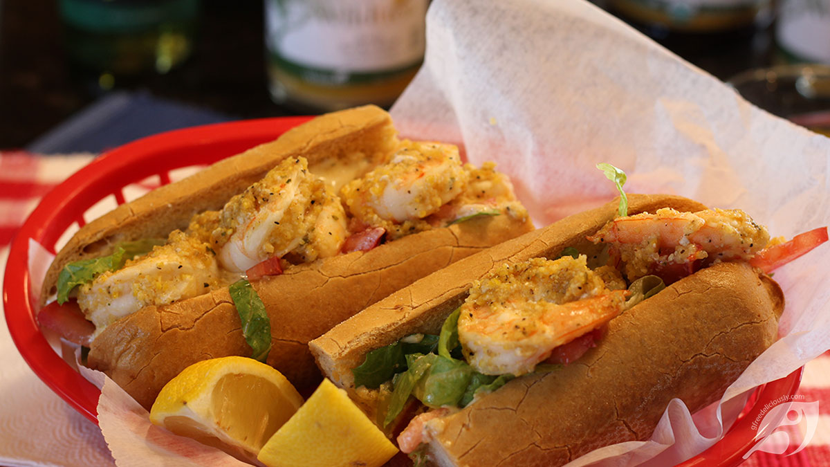 Buffalo Shrimp Po'Boy - two six-inch halves in a basket