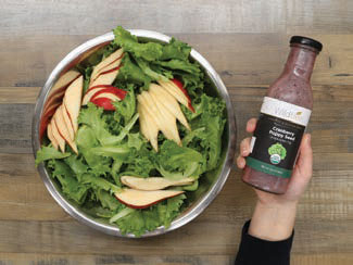 greens with pears and cranberry poppy seed dressing